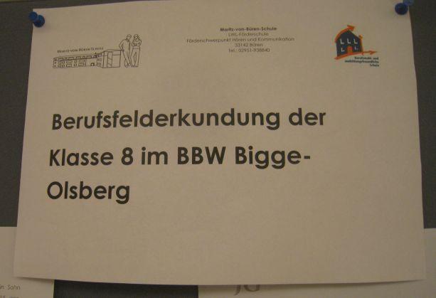 Die Berufsfelderkundung beim BBW in Bigge