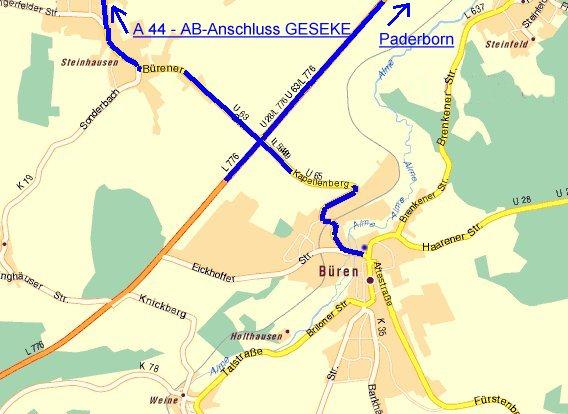 Weg ab der AB-Abfahrt Geseke (A44)