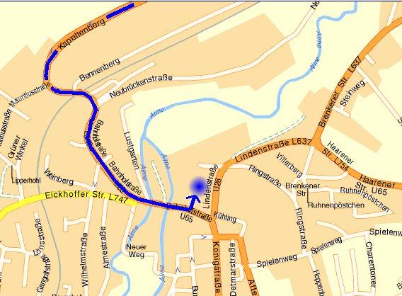 Weg in Büren vom Kapellenberg bis zur Bahnhofstraße
