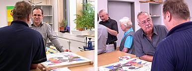 Zwei Bilder zeigen unterschiedliche Beiratsmitglieder im Gespräch mit einem Patienten
