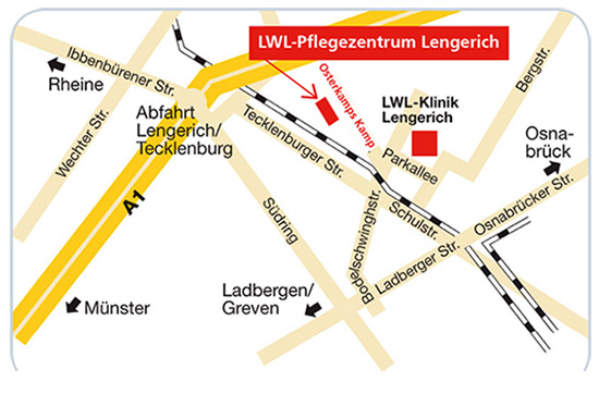 Lageplan LWL-Pflegezentrum Lengerich