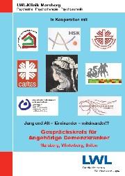 Die Grafik zeigt das Cover der Broschüre 'Gesprächskreis für Angehörigen von Demenzkranken'