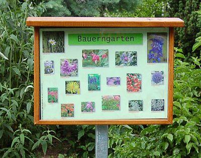 Foto zeigt Schild vom Bauerngarten