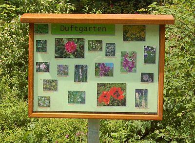 Foto vom Schild zum Duftgarten