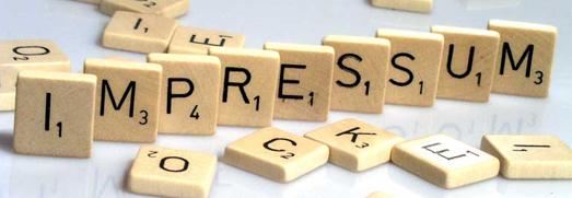 Das Bild zeigt das Wort 'Impressum' aus Scrabble-Steinen gelegt. Foto: LWL