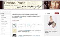 Das Bild zeigt die Startseite des 'Droste-Portals'
