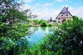 Das Bild zeigt den Dorfteich im Paderborner Dorf des Museums. Foto: LWL-Freilichtmuseum Detmold