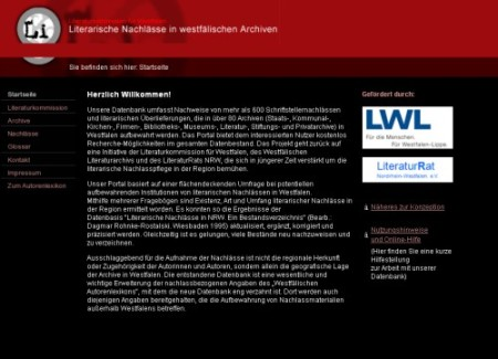 Screenshot Westfälische Literaturnachlässe
