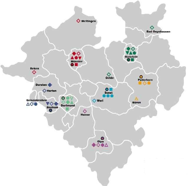 Landkarte Westf.-Lippe mit Westf. Schulen, Internaten und Schul- und Internatsverwaltungen