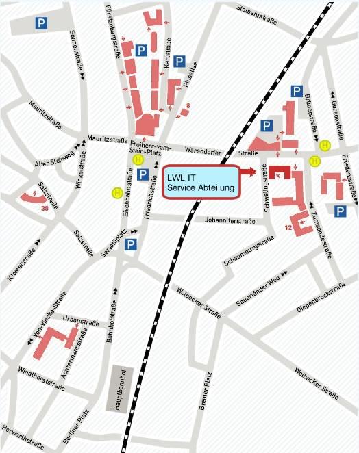 Die Grafik zeigt einen Lageplan der LWL.IT Service Abteilung an der Warendorferstraße 22