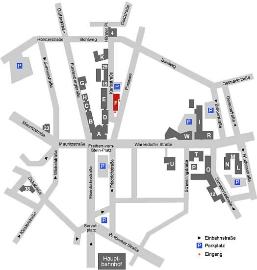 Gebäude F, Piusallee 1 - 3