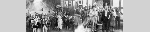 Das Foto zeigt Karneval 1925 in Beverunge und das traditionelle Wurstsingen