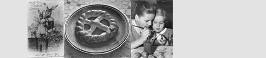 Das Foto zeigt eine alte Postkarte und Kinder beim Eierbemalen