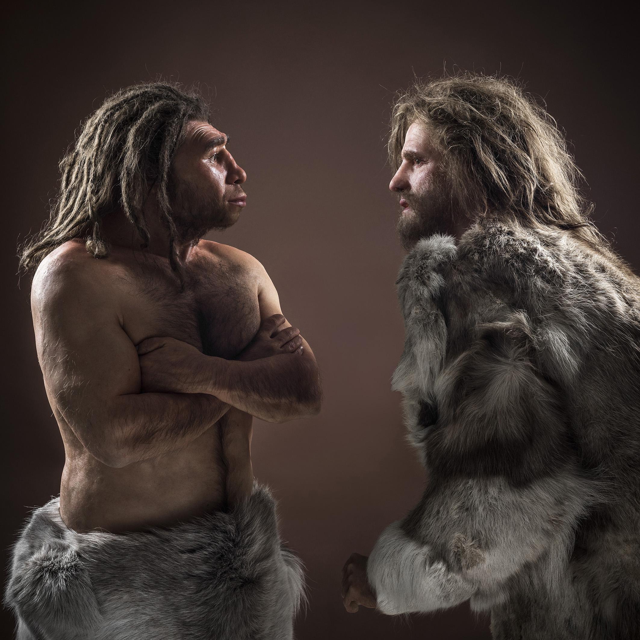 Bilddatei: Neanderthaler+HomoSapiens_DSC5443-2-kl(c)LWL,Steinweg.jpg