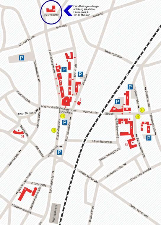 Anfahrtsskizze zur LWL-Maßregelvollzugsabteilung Westfalen