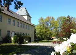Auf dem Bild ist die Rückseite des Schlossgebäudes im Frühling zu sehen. Im Vordergrund steht ein blühender Busch.