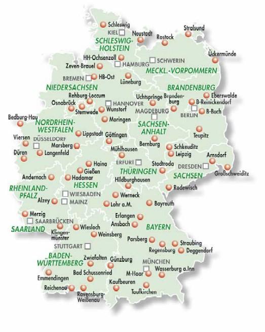 Übersichtskarte der Standorte von forensischen Kliniken im Bundesgebiet
