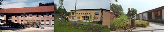 Das Foto zeigt drei Einrichtungen aus dem Bereich der Kinder- und Jugendpsychiatrie.
