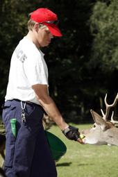 Das Foto zeigt einen Mann beim Tiere füttern.