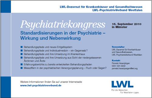 Das Foto zeigt die Anzeige zum LWL-Psychiatriekongress am 15.09.2010 in Münster.