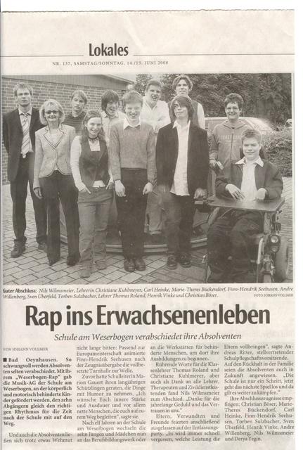 Bericht in der Neuen Westfälischen am 14/15.06.2008