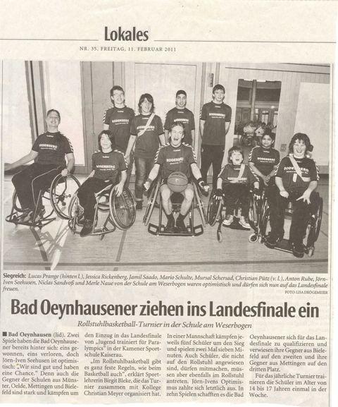 Team Rollstuhlbasketball der Schule am Weserbogen