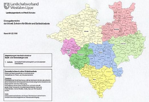 Einzugsbereiche der LWL-Förderschulen, Förderschwerpunkt Sehen