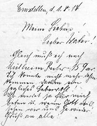 Abschied des Johannes Stegemann an seine Familie vor seiner Einberufung am 01.08.1914 / Foto: Münster, Landesarchiv NRW Abteilung Westfalen/Nachlass Heinrich Stegemann Nr. 1