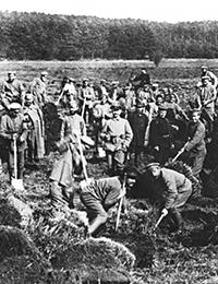 Zivilleben im Ersten Weltkrieg: Kriegsgefangene bei der Zwangsarbeit in der Landwirtschaft, ca. 1917 / Foto: LWL-Medienzentrum für Westfalen/001 Slg. Historische Landeskunde_1/01_4570