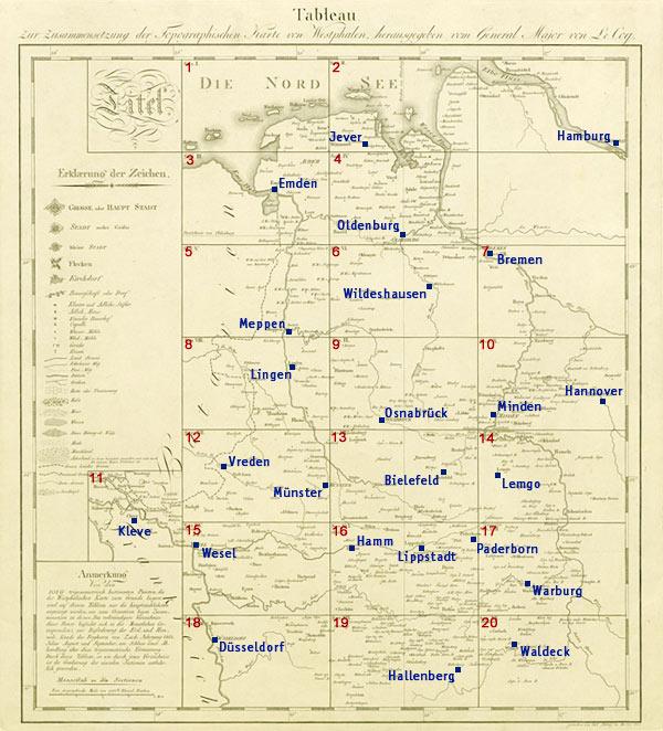 Le Coq: Übersichtskarte - Tableau zur Zusammensetzung der Topographischen Karte von Westphalen, herausgegeben von General Major von Le Coq