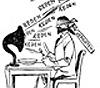 Karikatur auf Politiker und Parlamentarismus: 'Reden - Werde ich nun satt oder kriege ich es satt?', aus: Volksfreund, 21.02.1933, Titelblatt (Ausschnitt)