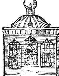 Turm der St. Lamberti-Kirche in Münster mit den drei Käfigen der Täufer, Münster 1536 / Münster, LWL-Landesmuseum für Kunst und Kulturgeschichte Münster, Bibl.Sign. SNC 3