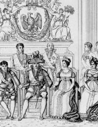 Gruppenbildnis von Napoleon Bonaparte und den von ihm eingesetzten Königen mit ihren Frauen, 1809 (Ausschnitt) / Münster, Westfälisches Landesmuseum für Kunst und Kulturgeschichte Münster, C-506144 PAD