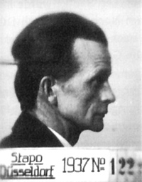 Gewerkschaftsfunktionär Leo Radtke (26.03.1897-01.05.1969), erkennungsdienstliches Foto der Staatspolizei Düsseldorf, 1937 (Ausschnitt) / Foto: Landesarchiv NRW Hauptstaatsarchiv Düsseldorf, RW 58, Nr. 604