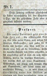 Westfälische Zeitung (Ausschnitt), Nr. 1 vom 06.04.1848 / Foto: Verein für Geschichte und Altertumskunde Westfalens, Abt. Paderborn e. V., AV 1017a