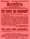2. Extraausgabe des 'Vorwärts' vom 09.11.1918 / Montage mit rotem Hintergrund, Marcus Weidner
