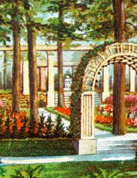 Postkarte mit der Idealansicht des Eingangs zum Ehrenhain ('Ehrenfriedhof Detmold') (Ausschnitt) / Foto: Detmold, Landesarchiv NRW Abteilung Ostwestfalen-Lippe, D 75 Nr. 7930
