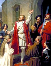 Ausschnitt aus dem Gemälde von Franz Baehrs 'Die Wiedertäufer (Johann van Leyden tauft ein Mädchen)' / Foto: Münster, Westfälisches Landesmuseum für Kunst und Kulturgeschichte