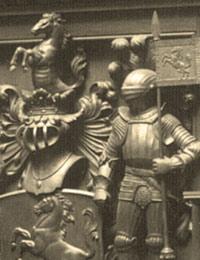Wappen der Provinz Westfalen in der Holzvertäfelung des Sitzungssaales des alten alten Landeshauses  (Ausschnitt)/ Foto: LWL-Bau- und Liegenschaftsbetrieb