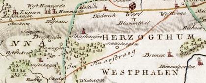 Herzogtum Westfalen, Teil des späteren Großherzogtums, 1791 (Kartenausschnitt)