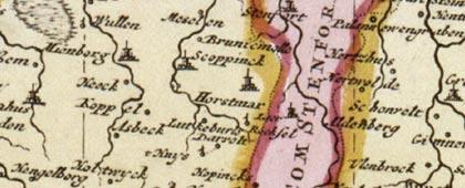 Gebiet um Horstmar, 1710 / 1730 (Kartenausschnitt)