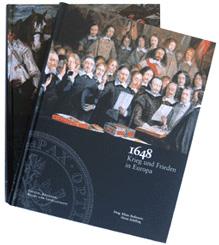 Einbände der beiden Textbände zur 26. Europaratsausstellung '1648 - Krieg und Frieden in Europa'