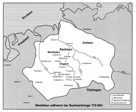 Karte: Westfalen während der Sachsenkriege 772-804