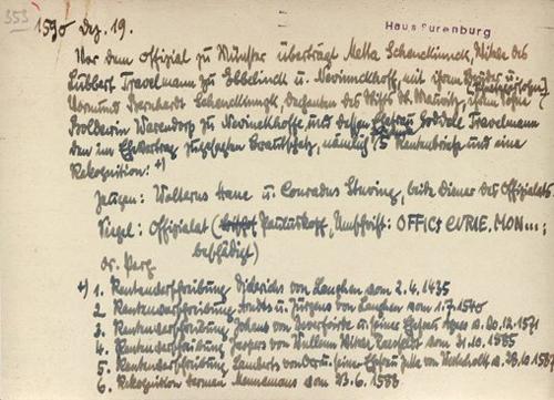 Beispiel für eine handschriftliche Karteikarte, Originalgröße im Projekt