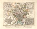 Provinz Westphalen [mit Nebenkarten: Stadtplan von Münster; Umgebungspläne von Coesfeld, Paderborn und Iserlohn], 1849
