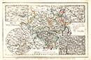 Provinz Westphalen [mit Nebenkarten: Stadtplan von Münster; Umgebungspläne von Coesfeld, Paderborn und Iserlohn], [1840-1849]