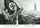 """Postkarte mit der Darstellung des Hermannsdenkmals und der Hakenkreuzfahne: """"Wo einst der Führer der Germanen, Deutsches Land vom Feind befreit!"""" """"Wehen Hitler"""
