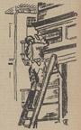 """Illustration der Siegener Zeitung anlässlich der Auswechslung von Straßenschildern in Siegen, hier: Anbringung des Straßennamenschilds """"Adolf-Hitler-Str."""", 01.04.1933 / Siegen, Stadtarchiv"""