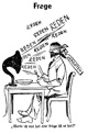 """Karikatur auf Politiker und Parlamentarismus: """"Reden - Werde ich nun satt oder kriege ich es satt?"""", aus: Volksfreund, 21.02.1933, Titelblatt / Recklinghausen, Stadtarchiv / Münster, T. Arand"""