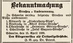 Bekanntmachung von Straßenumbenennungen, Schwelmer Zeitung, 16.04.1933